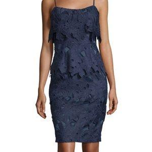 Black Halo Floral Popover Navy Sheath Dress